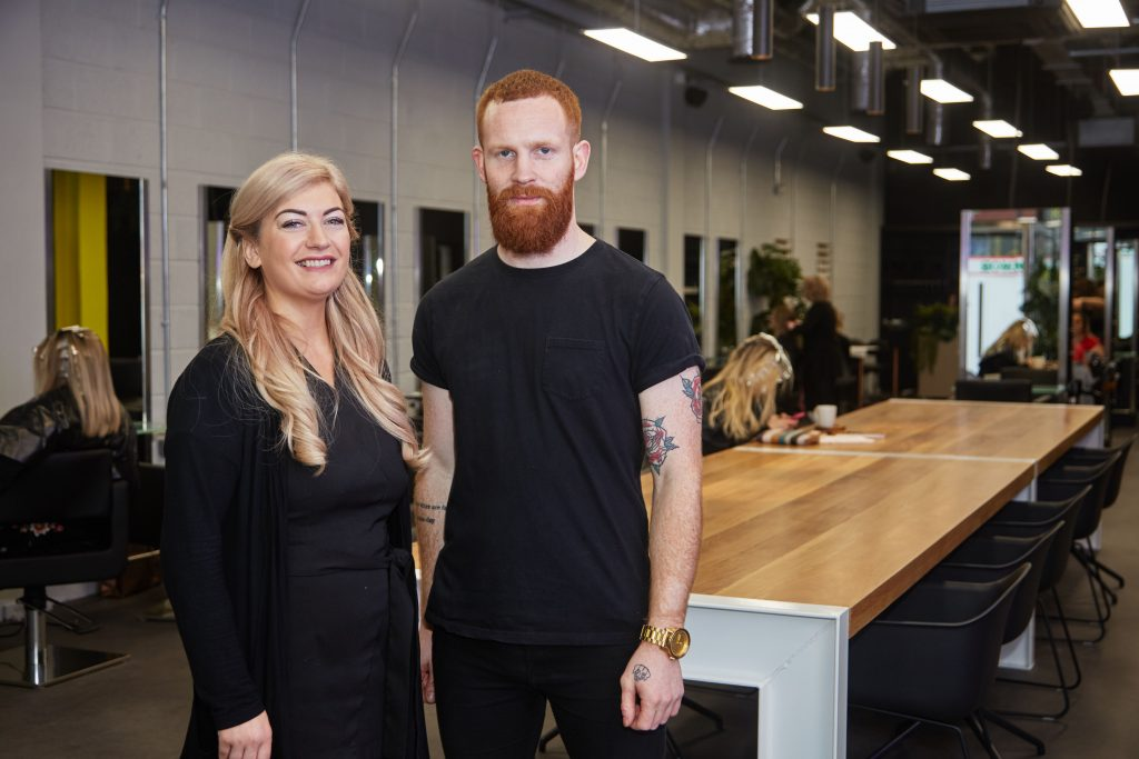 Cliona Sweeney, owner of Beautique Beauty located at Kopper City and Neil O'Connell from Stylist at Kopper City. Picture: Miki Barlok